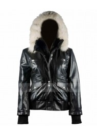 Bomber Womens Fur Black Leather Hooded Jacket