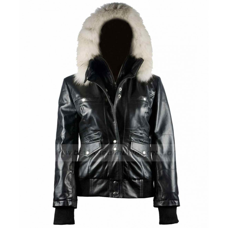 Black Leather Jacket Women | Fur Hooded Bomber Jacket