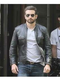 Bradley Cooper Sports Black Leather Biker Jacket