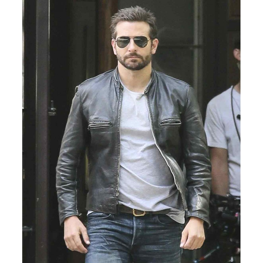 Bradley Cooper Sports Jacket | Black Leather Biker Jacket