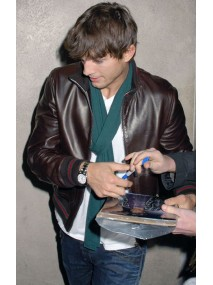 Ashton Kutcher Brown Leather Jacket