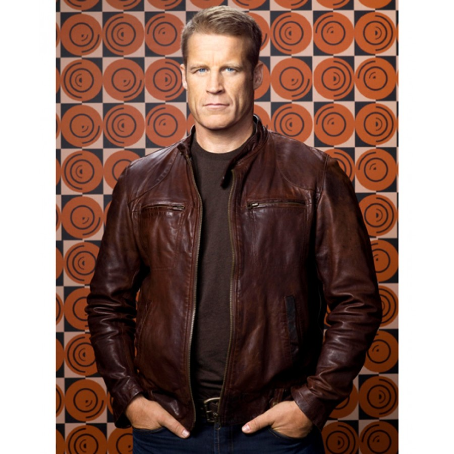 Leather jacket target -  Mark Valley Human Target Christopher Chance Leather Jacket