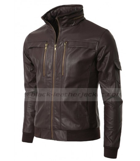 Brown Wired Collar Men's Slim Fit Leather Jacket