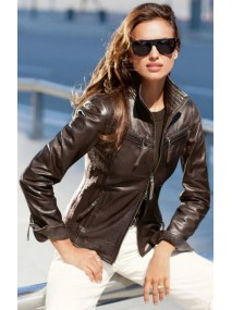 Irina Shayk Brown Faux Leather Jacket