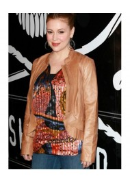 Alyssa Milano Tan Brown Leather Jacket