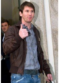 Lionel Messi Brown Leather Jacket