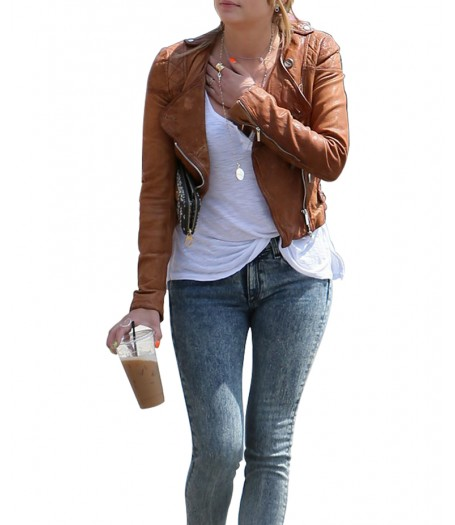 Ashley Benson Brown Leather Quilted Jacket