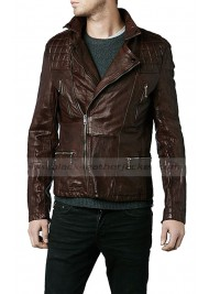Eddie Redmayne Brown Leather Quilted Biker Jacket