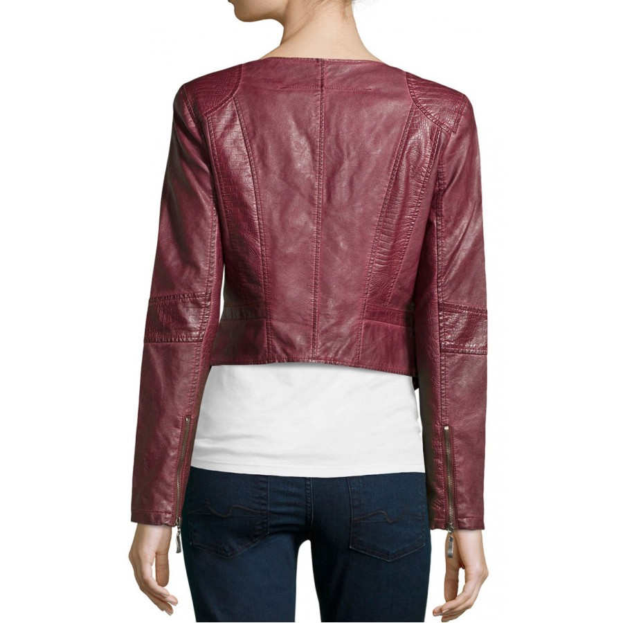 fashion style new high quality official price Womens Burgundy Faux Leather Cropped Biker Jacket