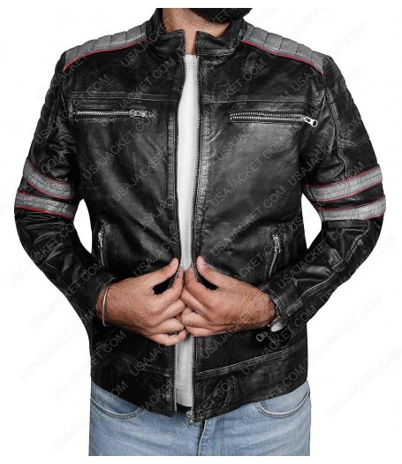 Men Distressed Motorcycle Retro Jacket