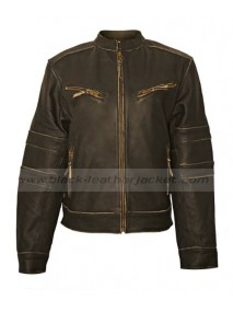 Womens Cafe Racer Distressed Brown Leather Motorcycle Jacket