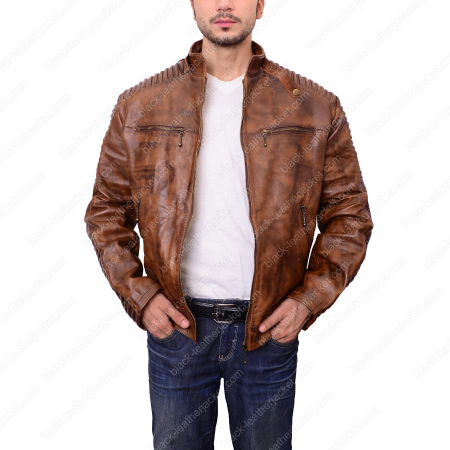 ce8d6a6e682 Mens Cafe Racer Motorcycle Leather Jacket. zoom · Mens ...
