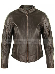 Cafe Racer Womens Dark Brown Leather Motorcycle Jacket