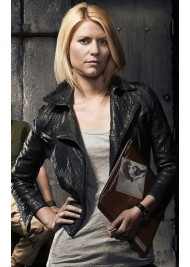Carrie Mathison Homeland Cropped Black Leather Jacket