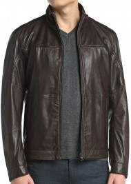 Men's Casual Wear Dark Brown Leather Jacket