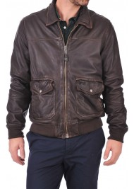 Casual Mens Wear Dark Brown Bomber Leather Jacket