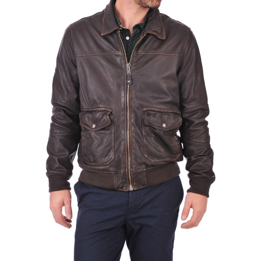 bd76d8803 Casual Mens Wear Dark Brown Bomber Leather Jacket