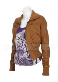 Christina Hendricks Drive Ladies Brown Leather Jacket