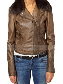 Clara Oswald Double Zip Biker Jacket with Fur Collar