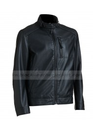 Classic Look Ribbed Black Faux Leather Jacket