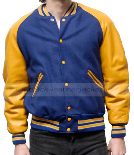 Classic Style Blue and Yellow Varsity Jacket