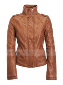 Cognac Faux Leather Jacket for Women