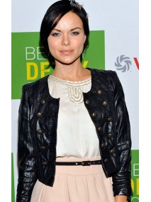 Anya Monzikova Collarless Black Leather Jacket