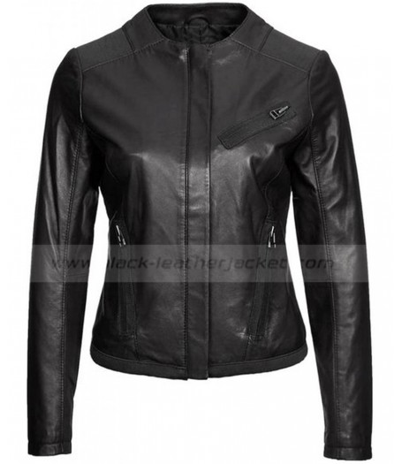 Collarless Black Lambskin Leather Jacket Womens