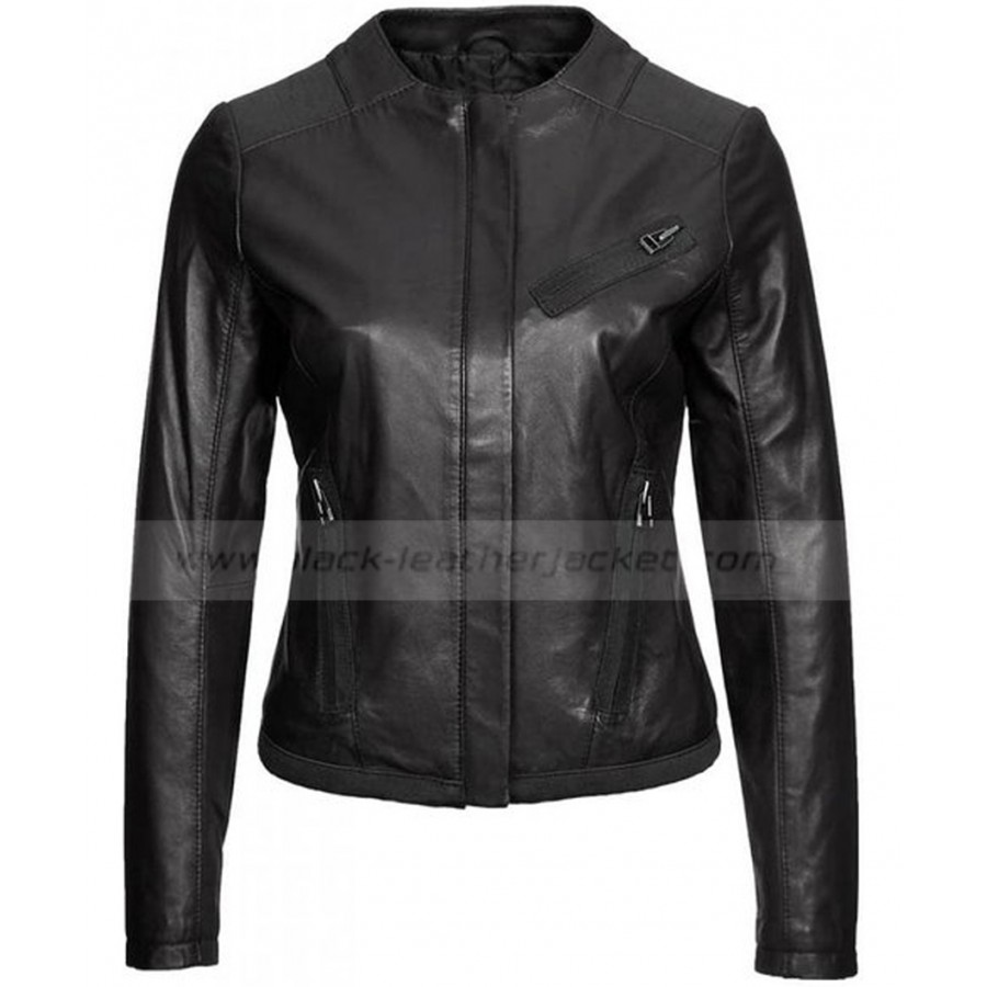 Collarless Leather Jacket Womens | Ladies Black Lambskin Jacket
