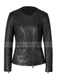 Collarless Womens Black Quilted Leather Biker Jacket