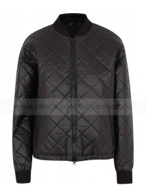 Cotton Blend Bomber Black Quilted Jacket