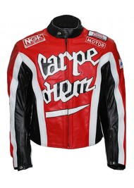Crazy Horse Red Riding Motorcycle Carpe Diem Leather Jacket