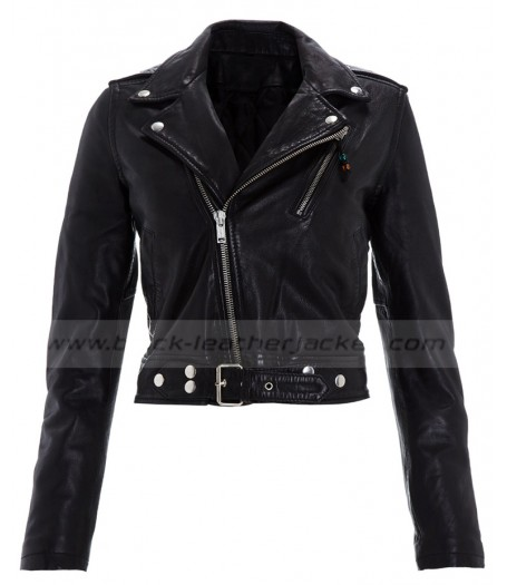 Emma Watson Cropped Black Leather Jacket