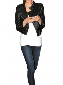 Kristin Cavallari Black Leather Cropped Jacket