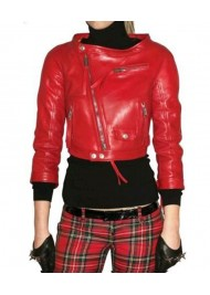 Rihanna Cropped Red Leather Jacket