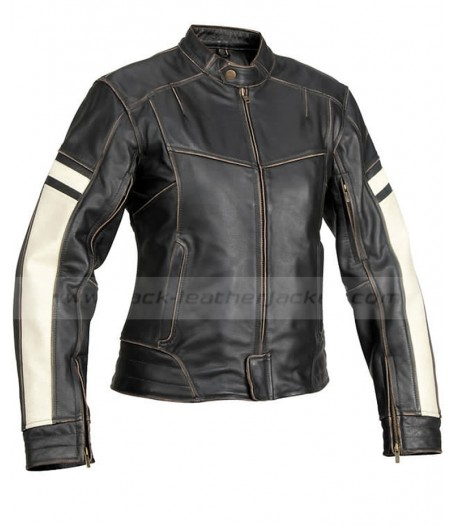 Dame Vintage Womens Black Leather Motorcycle Jacket