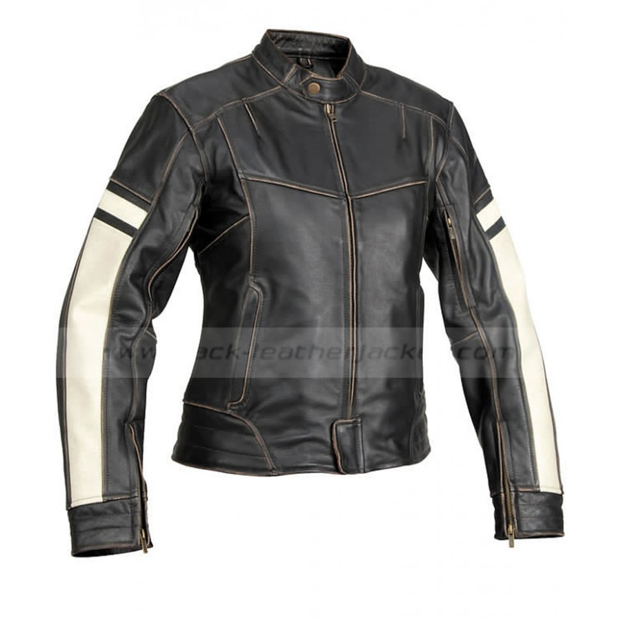 Dame Vintage Womens Black Leather Motorcycle Jacket. zoom · Dame ... 2547e694cd