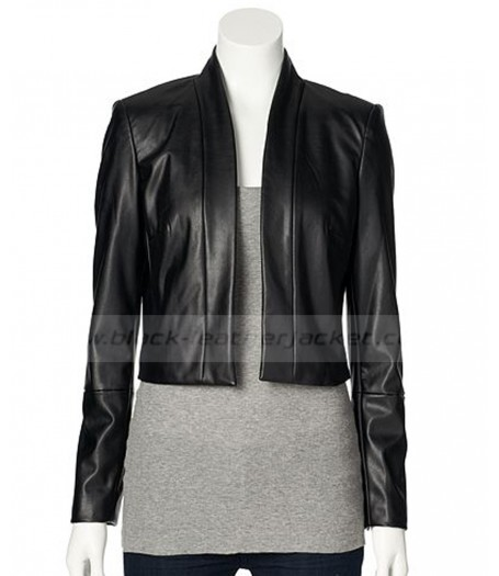 Dana Buchman Black Cropped Faux Leather Jacket