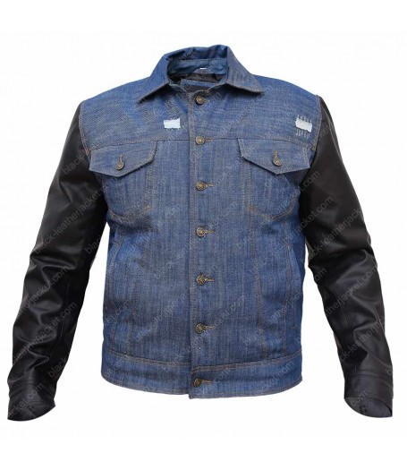 Faux Leather Sleeves Blue Denim Jacket