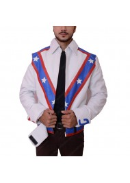 Daredevil Evel Knievel White Leather Biker Jacket