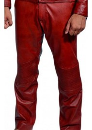 Red Leather Daredevil Pants