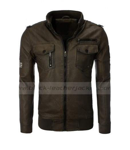 Stand Up Collar Dark Brown Leather Jacket