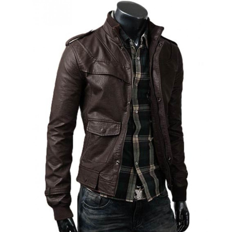 Mens Brown Fitted Jacket | Slim Leather Jacket