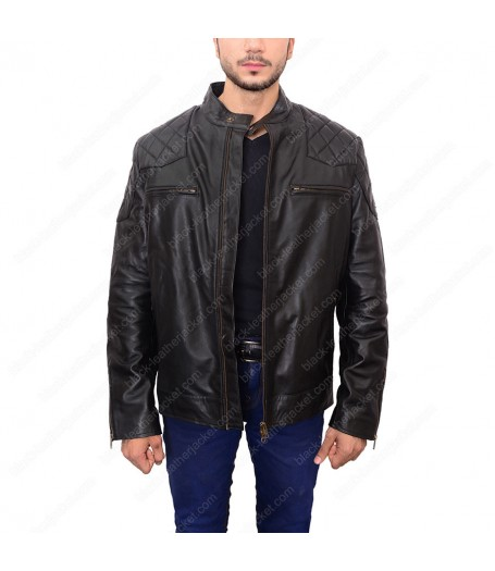 David Beckham Black Leather Biker Quilted Jacket