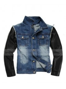 Justin Bieber Denim Jean Jacket with Leather Sleeves