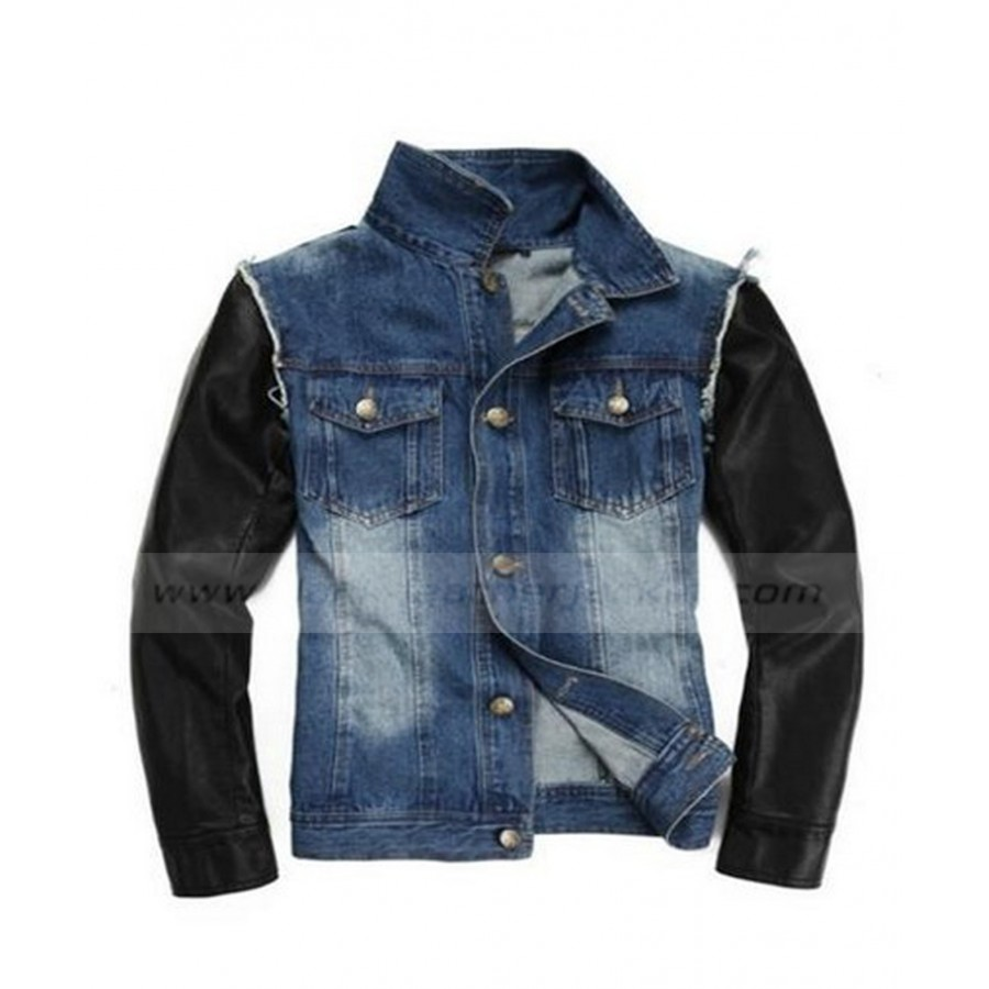 ac0e46ea4 Justin Bieber Denim Jean Jacket with Leather Sleeves