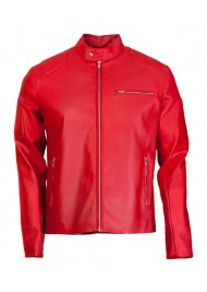 Designer Elegant Mens Red Leather Biker Jacket