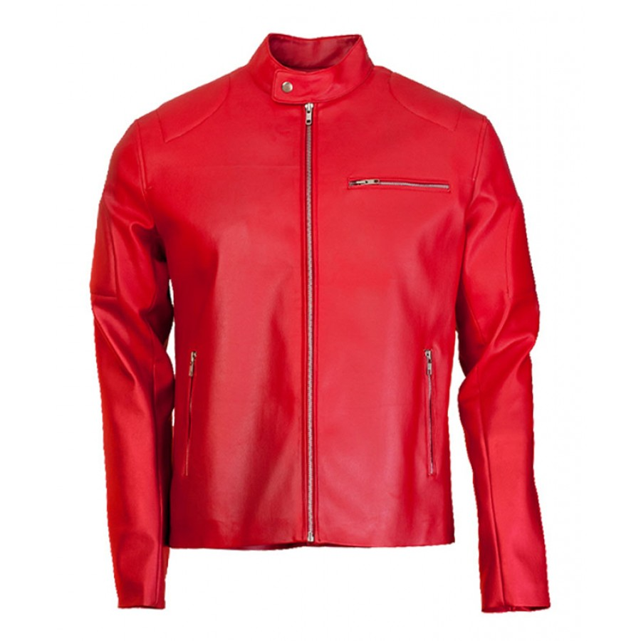 Mens Red Leather Biker Jacket | Elegant Motorcycle Designer Jacket