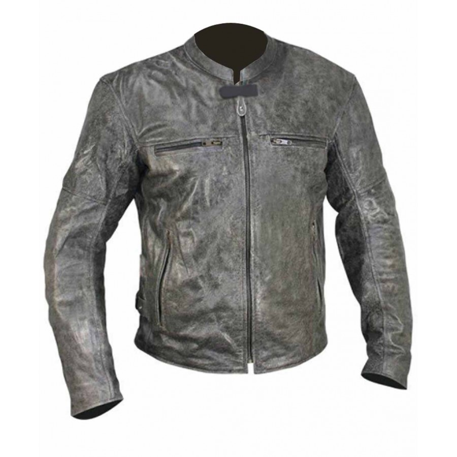 Distressed Boys Leather Jacket | Motorcycle Grey Leather Jacket Womens