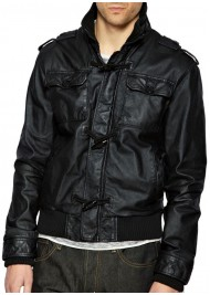 Men's Designer Black Leather Bomber Jacket